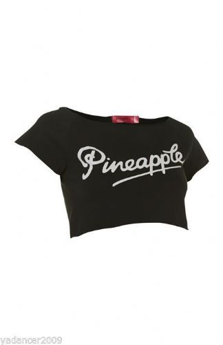 PINEAPPLE DANCEWEAR Womens Short Sleeved Crop Retro Dance Top T-Shirt Black